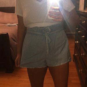 Express light wash paper bag shorts